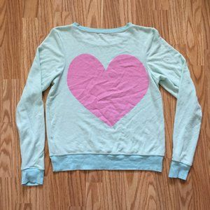 NEW WILDFOX COUTURE TEAL HEART SWEATER SZ SMALL